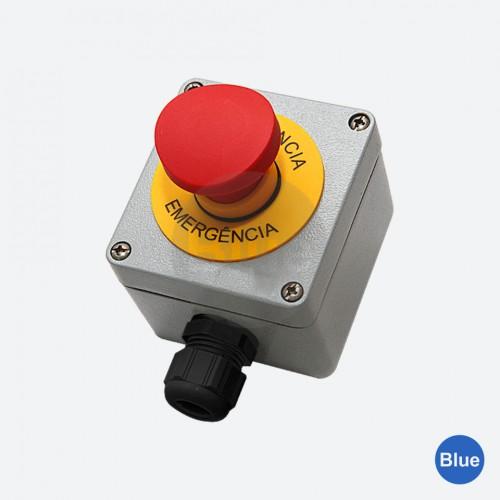 Botoeira de Emergência  (1NA + 2NF) + Plaqueta - Blue