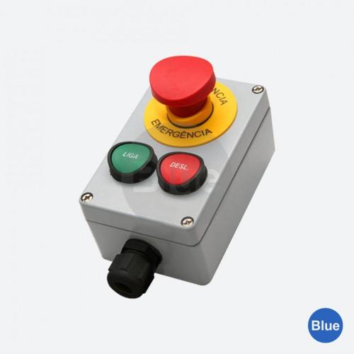Botoeira de Comando  (1NA + 1NF) + Emergência + Plaqueta - Blue